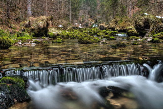 Скачать обои лес, река, водопад, природа бесплатно для рабочего стола